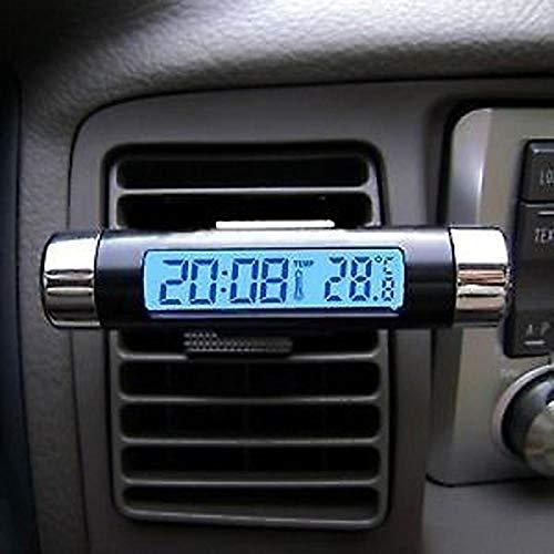 okdeals 2-in-1 Clip-on LCD Praktisches Auto Thermometer Automotive Digital Uhr Hintergrundbeleuchtung
