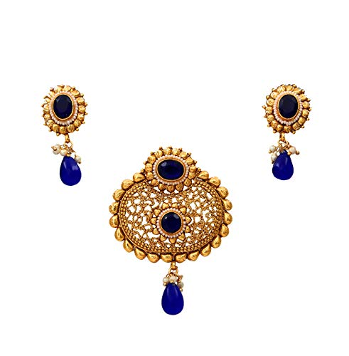 55Carat cobre chapado en oro Multi Blue Blue-Crystal