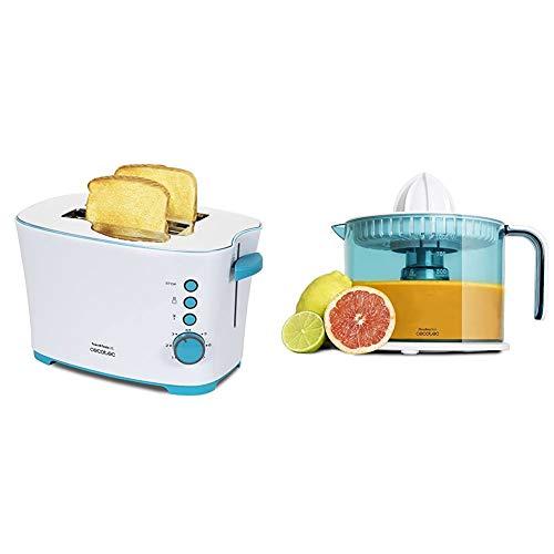 Cecotec Toast&Taste 2S - Tostadora, 7 Niveles de Potencia, Capacidad para 2 Tostadas, 3 Funciones + ZitrusEasy Basic Exprimidor Eléctrico, 40 W, Tambor de 1 litro BPA Free