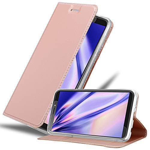 Cadorabo Hülle für HTC Desire 12 Plus in Classy ROSÉ Gold - Handyhülle mit Magnetverschluss, Standfunktion & Kartenfach - Hülle Cover Schutzhülle Etui Tasche Book Klapp Style