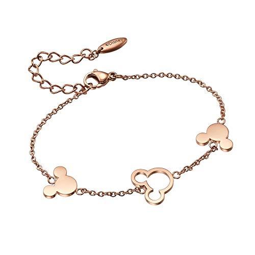 FashionEx Disney - Pulsera de Oro Rosa con diseño de Mickey Mouse para Mujer y niña
