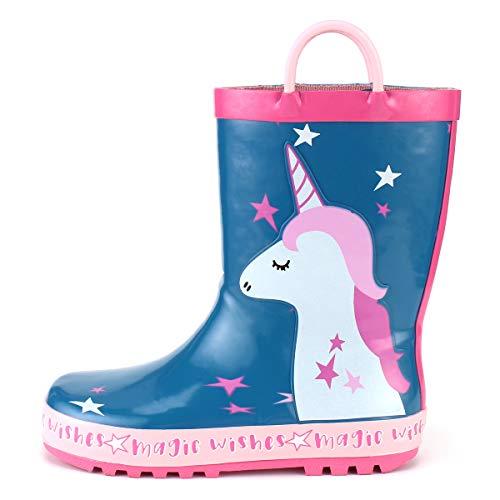 KomForme Stivali da Piaggia Bambini 3D in Gomma Antiscivolo Morbido ed Elegante, Unicorno, 32 EU