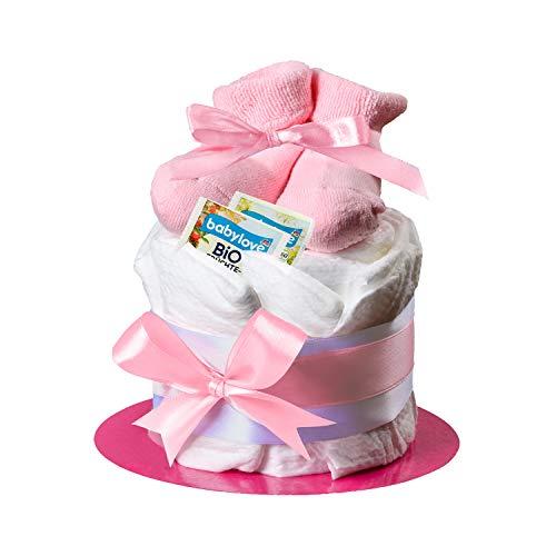 Windeltorte in Rosa mit Babysocken von Homery - perfekt als Geschenk für Mädchen zur Baby-Party oder Geburt- Inklusive Glückwunschkarte - Handmade fair hergestellt