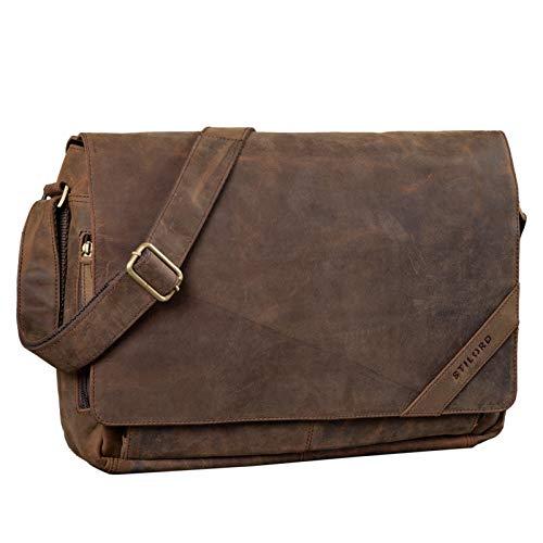 STILORD 'Nick' Umhängetasche Leder Herren Damen Unitasche 15.6 Zoll Laptoptasche Aktentasche Bürotasche Vintage Büffel-Leder, Farbe:Colorado - braun