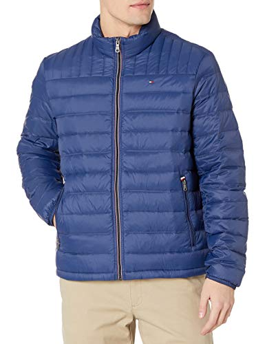 Tommy Hilfiger Men's Insulated Packable Puffer Jacket with Real Down, Deep Blue, Medium