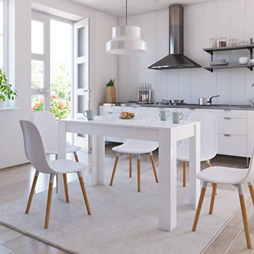 UnfadeMemory Mesa de Comedor con Diseño Elegante y Limpio,Mesa de Cocina,Mueble Comedor,Madera Aglomerada,120x60x76cm (Blanco Brillante)