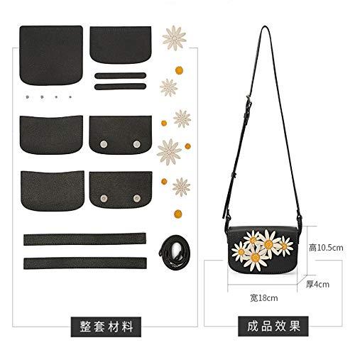 WSXQAZ Bolso Mensajero Texturizado, Bolso De Mujer Margarita, Bolso De Material De Bricolaje Cosido A Mano, Regalo Casero para Niña