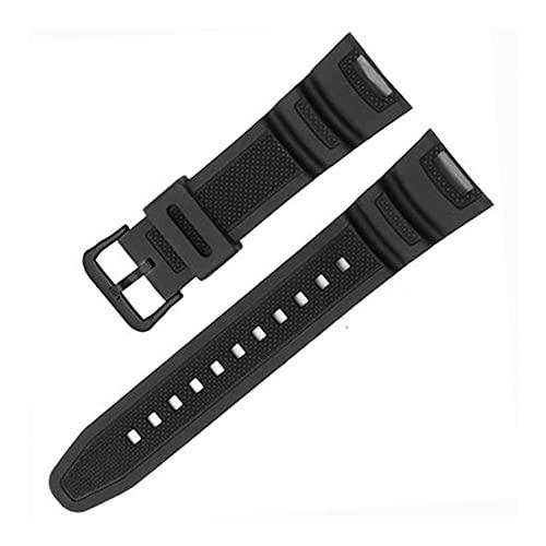 HANRUO Correa impermeable de goma de silicona negra para relojes inteligentes, accesorios pulsera (color de la correa: negro y negro)