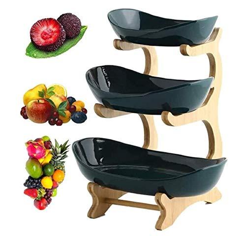 IURFE 3 Niveles de bambú para Pan, Verduras, Cesta de Frutas, Soporte, Cuenco para mostradores de Cocina, Bandeja de Almacenamiento en el hogar (Estante de bambú * 1, Cuenco de cerámica * 3)