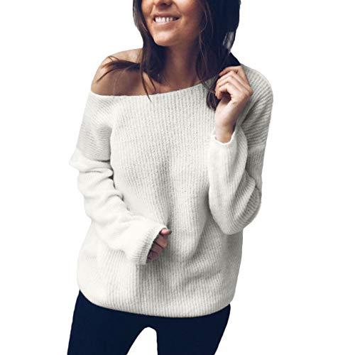 VEMOW Herbst Winter Elegante Damen Frauen Schulterfrei Pullover Casual V-Ausschnitt Gestrickte Lose Täglich Party Freizeit Langarm Pullover(X3-Weiß, 38 DE/XL CN)
