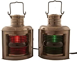 "Vermont Lanterns Brass Port & Starboard Electric Lamps - Nautical Decor (11"", Antique Brass)"
