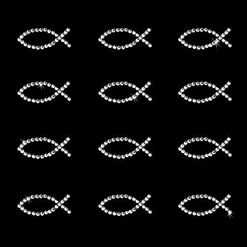 Oblique-Unique® 12 Stück Fisch Sticker Strass Steine zum Verzieren oder Aufkleben oder Einkleben von Karten - Kommunion Taufe Deko Tischdeko