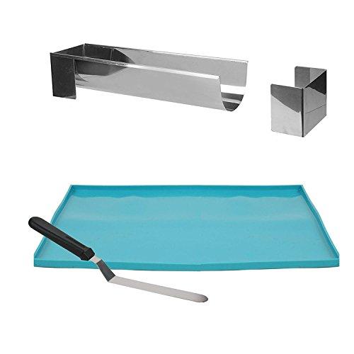 Lily cook KDO8594 Coffret Buche Noel - Moule-Plaque Genoise-Spatule, Metal + PP, Argent-Bleu, 37 x 27 x 1 cm
