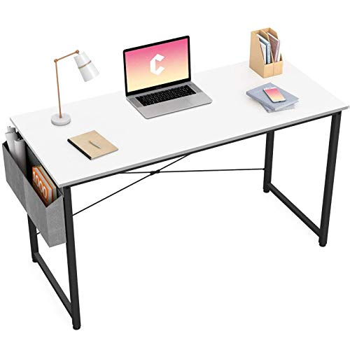 """Cubiker Writing Computer Desk 40"""" Home Office Study Desk, Modern Simple Style Laptop Table with Storage Bag, White"""