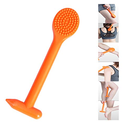 Hand-held Soft Rubber Meridian Shooting Board  Back Arm Acupoint Massage Hammer Portable Self Foot Body Massage Stick S Meridian Pat Neck Hand Muscle Shoulder Calf Woman Old Man Gift Best Orange