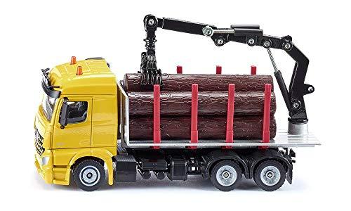 SIKU 2714, Holz-Transport-LKW, 1:50, Metall/Kunststoff, Inkl. 6 Holzstämme, Beweglicher Greifarm