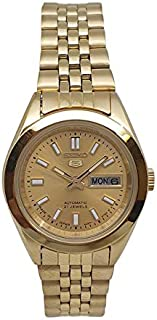 Seiko automatic 21 Jewels Calendar golden Stainless steel ladies watch SYMH54J