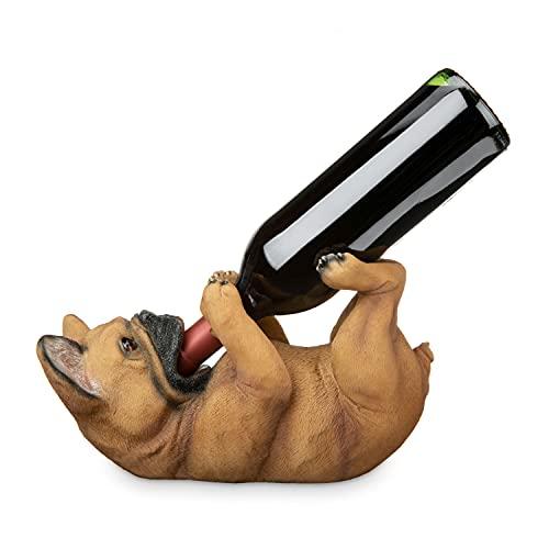 True French Bulldog Polyresin Wine Bottle Holder Set of 1, Multicolor, Holds 1 Standard Wine Bottle