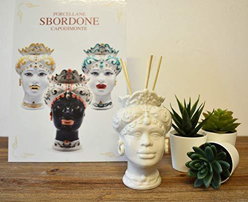 generica Testa di Moro in Porcellana H. 12 Donna TM900/1 Made in Italy SBORDONE