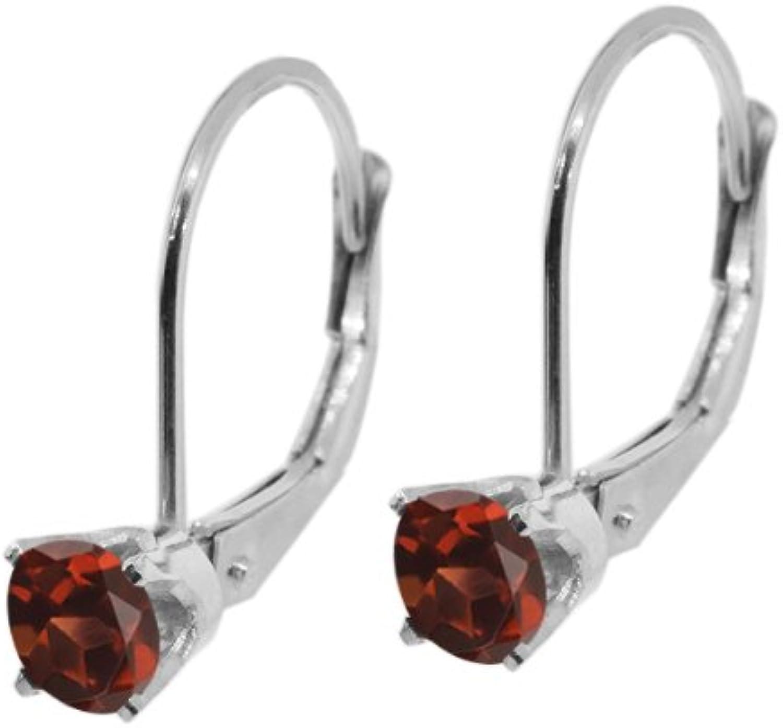 0.40 Ct Round Red Garnet 14K White gold Earrings