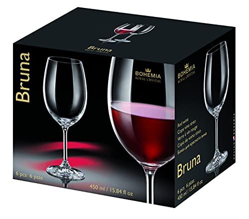 Copas de Cristal para Vino Tinto de la Línea Bruna - Set de 6 Piezas de 450ml