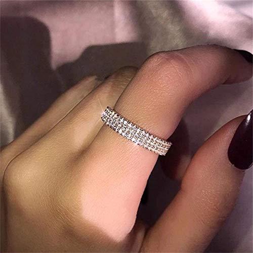 925 Sterling Silver Shiny Full Diamond Ring Three Rows Cubic Zirconia Rings CZ Diamond Multi Row Ring Eternity Engagement Wedding Band Ring for Women TZ.8 (US Code 6)
