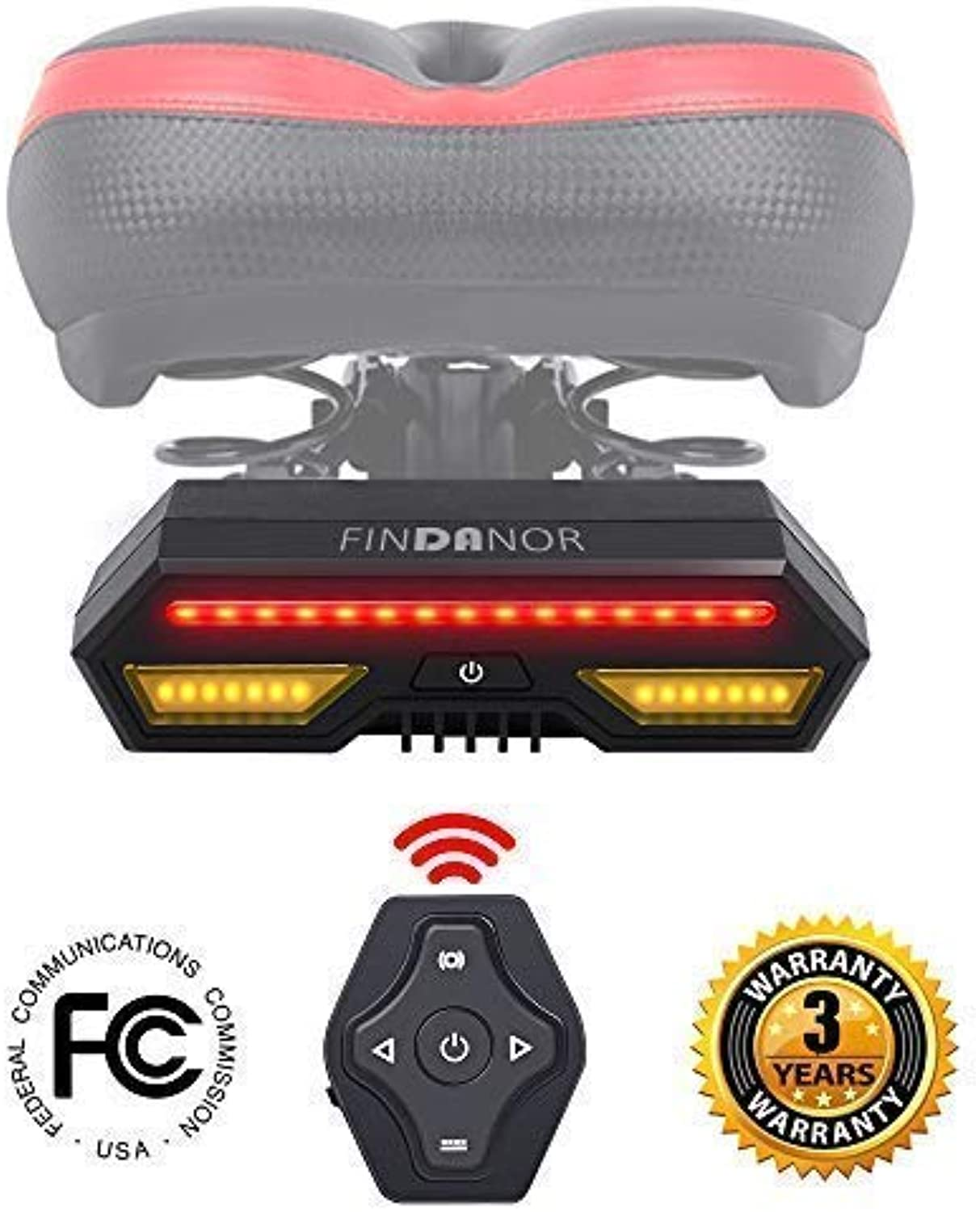 FINDANOR Ultra Bright LED Bike Tail Light with Turn SignalsWireless Remote Control Bicycle Tail LightSafety Brake Lights and Warning Light2200mAh USB Rechargeable Bike TaillightsWaterproof IPX4