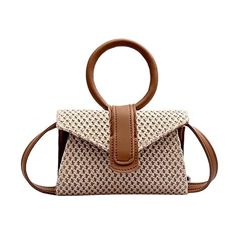 HuaRan Bolso de hombro tejido de paja para mujer, bolso de mensajero simple para niña, bolso de viaje (color: marrón, tamaño: 18 x 5 x 12 cm)