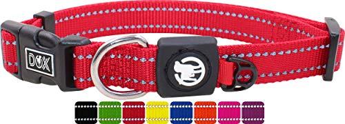 DDOXX Hundehalsband Nylon, reflektierend, verstellbar | für kleine & große Hunde | Halsband Hund Katze Welpe | Hunde-Halsbänder groß breit | Katzen-Halsband Welpen-Halsband klein | Rot, XS