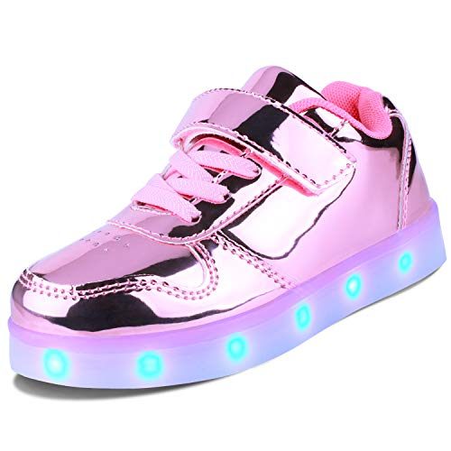 Kealux Girls Boys LED Shoes Kids Youth Low-Top Light Up Sneakers Shiny Pink Flashing USB Charging...