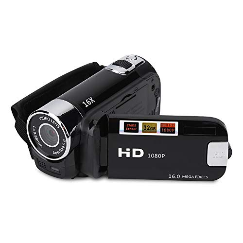 VBESTLIFE Full HD 270 ° Rotation 1080P 16X High Definition Digital Camcorder Video DV Kamera(schwarz)