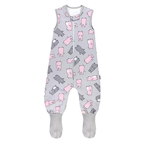 TupTam Baby Winter Schlafsack mit Beinen und Füßen, Farbe: Bärchen Rosa/Grau, Größe: 104-110