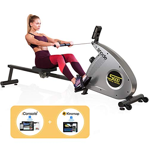 SNODE Bluetooth Magnetic Rowing Machine Rower with Bluetooth Heart Rate Monitor Compatible and Free APP, Adjustable Resistance, Soft Seat, Smooth Quiet Home Fitness Workout¡­