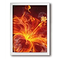 アートパネル フォトフレーム 額縁 フレーム 炎 花 オレンジ アートフレーム 壁掛け インテリア 装飾 枠付き ポスター ウッドフレーム パネル 30×40cm