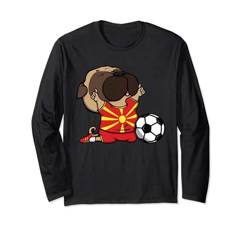 Pug Macedonia Ftbol Fans Jersey Macedonia Amantes del Ftbol Manga Larga