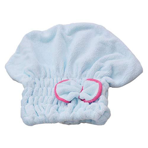 Lurrose Bowknot Capuchon De Séchage Des Cheveux Coral Fleece Serviette De Cheveux Wrap Turban Microfibre Capuchons De Séchage Des Cheveux Élastique Ba