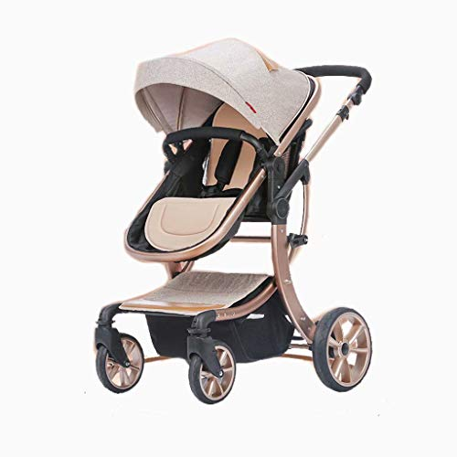 Find Bargain Pushchair,Two-Way Push Baby Stroller Four Seasons Available Foldable Four-Wheel Shock A...