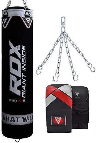 RDX Boxsack-Set, ungefüllt, MMA, Kickboxen, schweres Training, mit Handschuhen, Boxhandschuhe, Kette, Muay Thai, Kampfsport, 1,2 m, 1,5 m