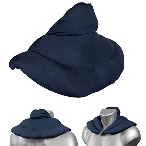 Nackenhörnchen mit Stehkragen dunkelblau - Rapssamenkissen - Nackenkissen Wärmekissen - Ein sehr wohliger Nackenwärmer