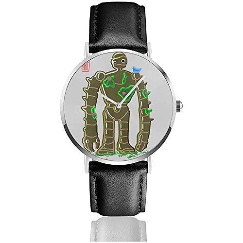 Unisex Ghibli Bakemono Robat Soldat Laputa Schloss im Himmel Uhren Quarz Lederuhr mit schwarzem Lederband