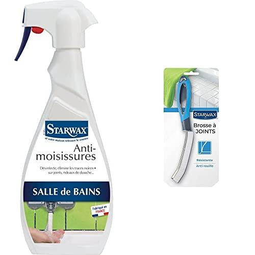 STARWAX Anti-Moississures 500 ml + Brosse à Joints - Idéal pour Désinfecter, Détruire les Moisissures et Récurer les Joints de Carrelage dans les Pièces Humides