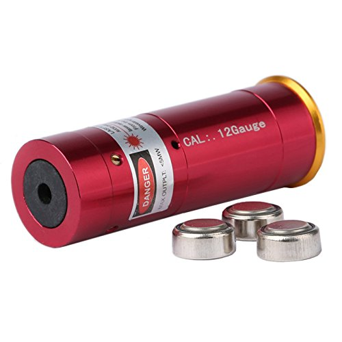 Dophee 12 Gauge Rouge Laser Endoscope à Cartouche Calibreur de Laser 12GA Boresighter pour Le Fusil de Chasse