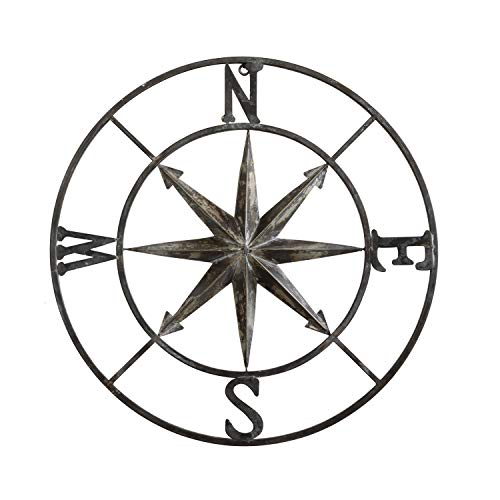 "Creative Co-op Decorative Round Metal Compass Wall Décor, 30"", Black,DA7818"