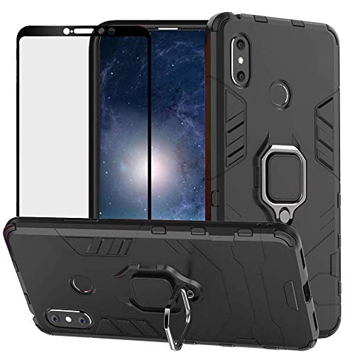 DuoLide for Xiaomi Mi Max 3 Case, 2 in 1 Hybrid Heavy Duty Armor Shockproof Defender Kickstand Dual Layer Bumper Hard Back Case Cover Tempered Glass Screen Protector,Black
