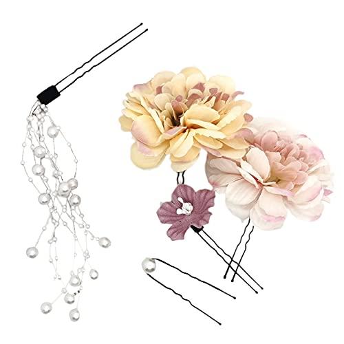 5Pcs/Set Artificial Flower Handmade Faux Pearl U-shaped Hair Pin Hair Clip Hair Accessories ,DIY Vintage Garden Office Wedding Wall Decor- Pink