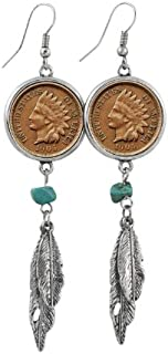 American Coin Treasures 100 Year Old Indian Head Penny Feather Silvertone Coin Earrings