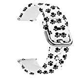 Universal Silicone Watch Band Replacement, 20mm Soft Straps Compatible with Gizmo Watch/Samsung Galaxy Watch Active/42mm/Gear Sport/HUAWEI Watch/TicWatch Bands (20mm, Paw Print)