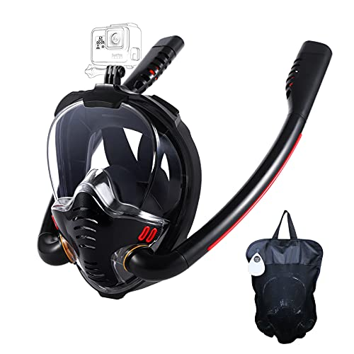 HJKB Full Face Snorkel Mask with Anti-Fog Wipes, 180 Degree Panoramic HD View Snorkeling Mask, Anti-Leak Dry Top Set for Adults and Kids