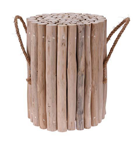 Spetebo Teak Hocker aus Holzästen mit Seil - 40x30 cm - Holz Blumenhocker Sitzhocker Beistelltisch