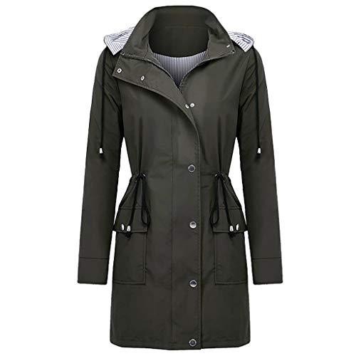 Damen Langarm Regenjacke Kapuze Kordelzug Windbreaker Outdoor Wasserabweisend Leichte Winddicht Mantel Tasten Reißverschluss Outdoorjacke mit Taschen